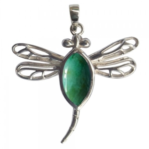 SILVER PENDANT - Chrysocolla Dragonfly