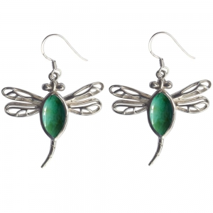 Chrysocolla Dragonfly 925 Silver Earings