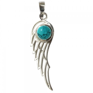 SILVER PENDANT - Angel Wing Turquoise 3cm
