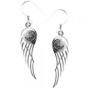 3cm Angel Wings Moonstone 925 Silver Earings