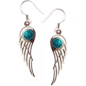 3cm Angel Wings Turquoise 925 Silver Earings