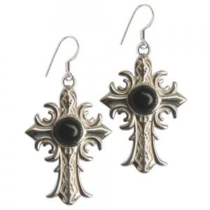 Black Obsidian Cross 925 Silver Earings