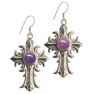 Amethyst Cross 925 Silver Earings