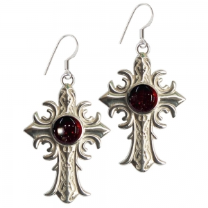 Garnet Cross 925 Silver Earings