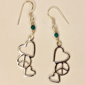 Turquoise Peace and Love Silver Earings