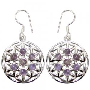 Amethyst Flower of Life 925 Silver Earings