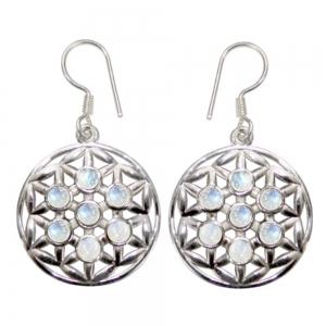 Rainbow Moonstone Flower of Life 925 Silver Earings