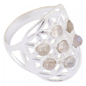 Moonstone Flower of Life 925 Silver Ring Size 9