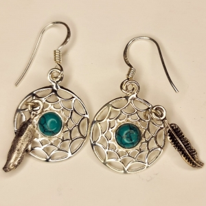 Turquoise Dream Catcher 925 Silver Earings