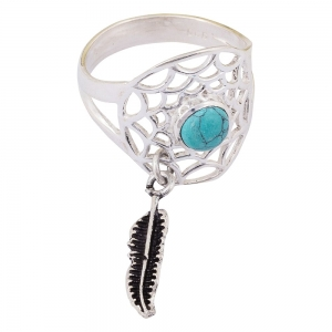 Turquoise Dream Catcher 925 Silver Ring Size 6