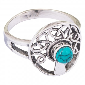 Tree of Life Turquoise Ring Size 8
