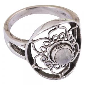Rainbow Moonstone Lotus Silver Ring Size 6