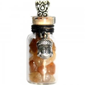 Necklace - Buddha with Citrine Glass Bottle