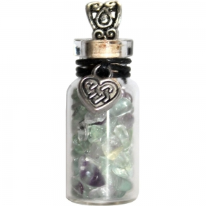 Necklace - Celtic Heart with Fluorite Glass Bottle