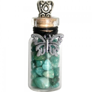 NECKLACE - Butterfly with Amazonite Glass Bottle