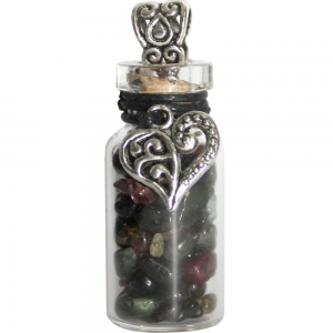 NECKLACE - Heart with Rainbow Tourmaline Glass Bottle