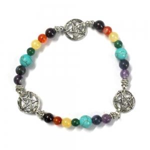 7 Chakra Bracelet with Pentagram