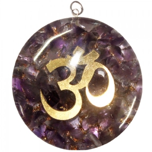 ORGONITE PENDANT - Om Gold with Amethyst