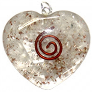 ORGONITE PENDANT - Selenite Spiral Heart