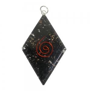 ORGONITE PENDANT - Shunghite Diamond Spiral