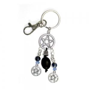 Pentacle Black Stones Key Chain