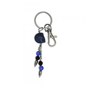 Blue Agate Skull Keychain
