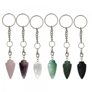 KEY CHAIN - Tear Drop Point Mix Assorted Stones