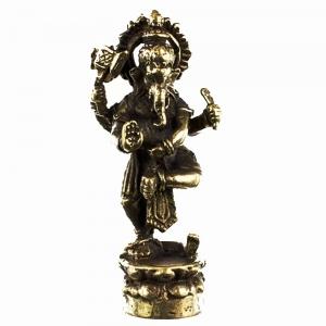 BRASS STATUE - Dancing Ganesh 3.8cm