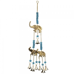3 Elephants with turquoise glass beads