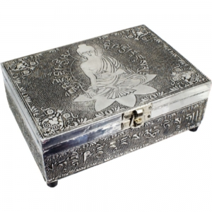 Meditation Buddha White Metal Box 12.75 x 17.75cm
