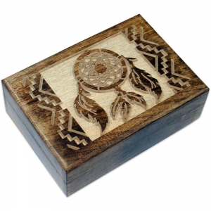 Dream Catcher Mango Wood Box 12.75cm x 17.75cm