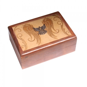 Laser Engraved Wooden Box with metal Angel