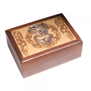Laser Engraved Wooden Box with metal Dragon