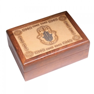Laser Engraved Wooden Box with metal Hand of Fatima