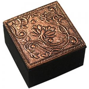 Floral Copper Finish Box 6cm X 3.75cm