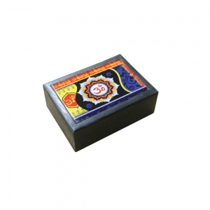 Black Wooden Box with Om Print