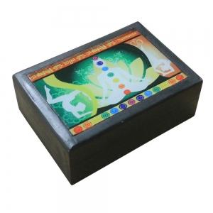 Black Wooden Box with Yoga Print