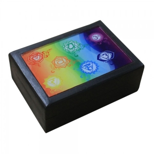 Black Wooden Box with 7 Chakra Print