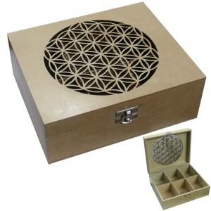 Flower of Life Engraved Tea Box  21.75 x 18.3 x 7.8cm