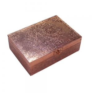 "Mandala Copper Plated Box 5X7"""