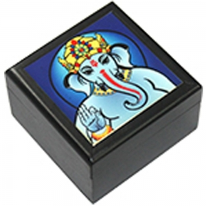 Ganesh Printed Wooden Box 5.5cm