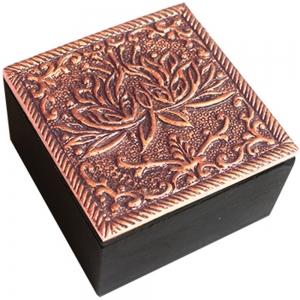 Lotus Copper Finish Box 6cm X 3.75cm