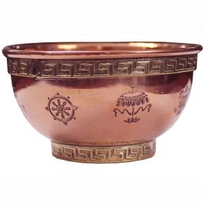 """3"""" 8 Auspiciuos Symbols Copper Bowl"""