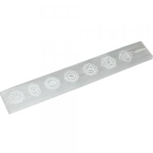 Selenite Chakra Engraved Incense Holder 25cmX3.5cm