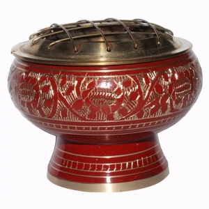 Brass Charcoal Burner with Grill Red 8cm