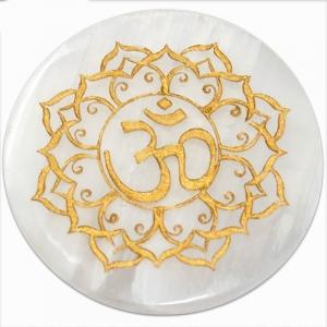 INCENSE HOLDER - Selenite Om Lotus Engraved 9.5cm