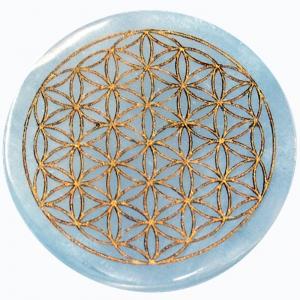 INCENSE HOLDER - Selenite Flower of Life Gold Engraved 9.5cm