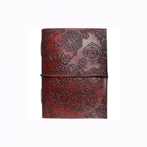 Chakra Embossed Leather Journal  7.5x10cm