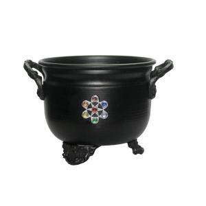 "4.5"" Chakra Black Metal Cauldron"