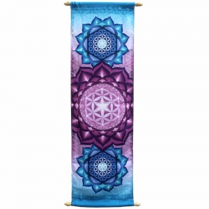 Banner - Flower of Life Print on French Crepe 36x90cm